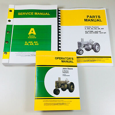 Service Manual Set For John Deere A Aw Ah An Ar Ao Tractor Parts Owners Operator