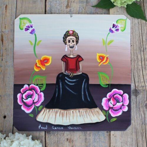 Day of the Dead Tin Retablo Tehuana Frida Kahlo Skeleton Oaxaca Mexican Folk Art