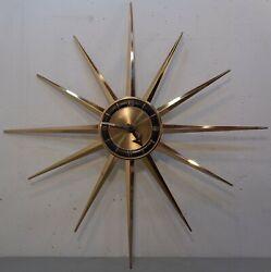 Large 28 VTG Mid Century Modern Sessions Starburst Sunburst Wall Clock Battery