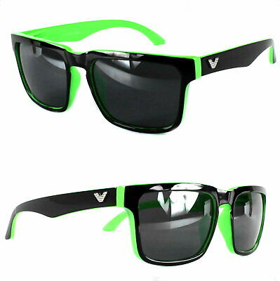 Rechteck Sonnenbrille Nerd Grün Schwarz Bi Color Herren Black Shiny Edition V1