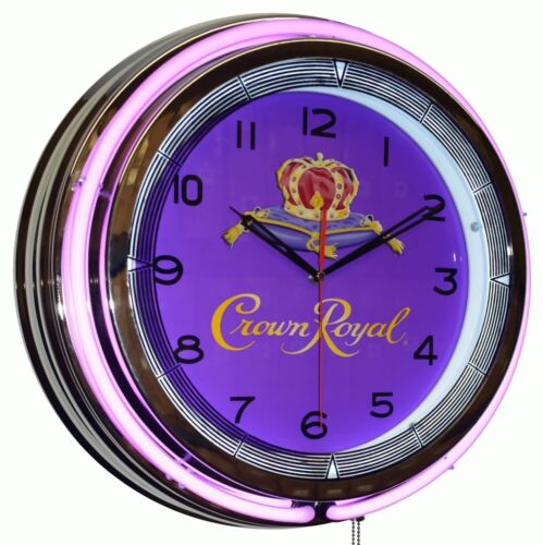 "19"" Crown Royal Whisky Purple Double Neon Clock Man Cave Pub Bar Decor"