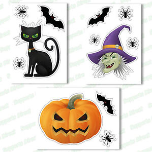 Halloween-Window-Clings-Reusable-Stickers-Quick-Simple-Decorations-Witch-Bat-Cat