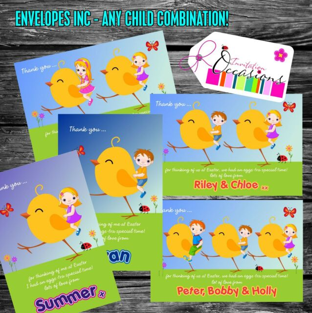 Personalised Easter Thank You Cards x 5