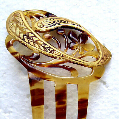 Victorian Wigs, Hair Pieces  | Victorian Hair Jewelry Art Nouveau hair comb with gilded decoration hair ornament $180.00 AT vintagedancer.com