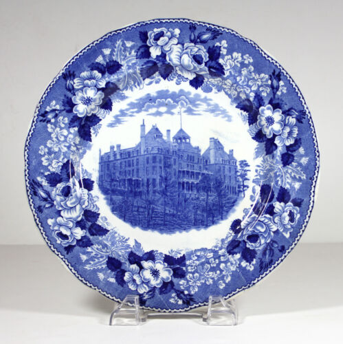 Antique CRESCENT HOTEL EUREKA SPRINGS ARKANSAS Souvenir Plate Ozarks Blue Flow