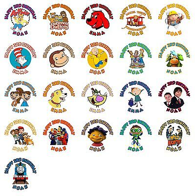 (60 PBS Kids Birthday Stickers Lollipop Labels Party Favors 1.5 in YOU PICK)