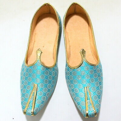 Best Blue Canvas Men's Jutti Slippers Mojari Handmade Khussa India Style