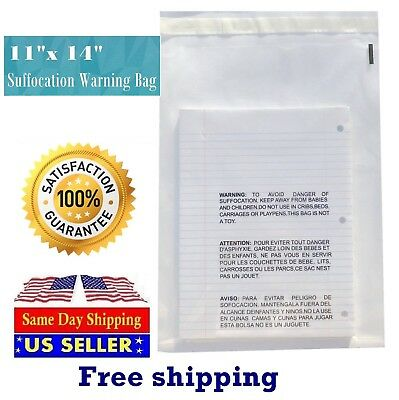 11x14 Clear Suffocation Warning Poly Self Seal Bags -st Shipmailers