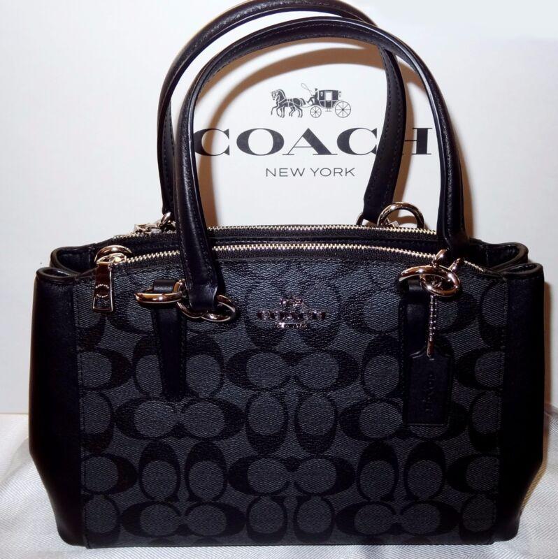 Coach Mini Christie Signature Carryall Bag Purse Satchel Crossbody BLACK $350