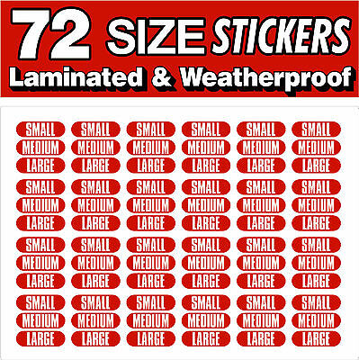 Ice Cream sizes SMALL MEDIUM LARGE Printed Self Adhesive Stickers 72 Stickers