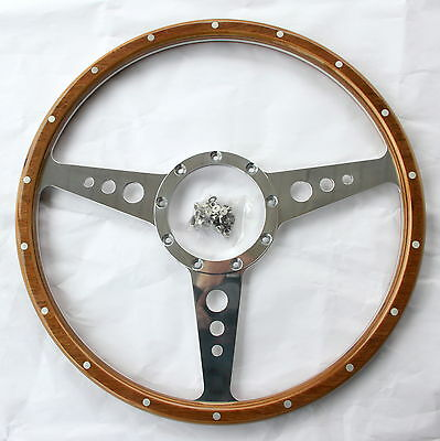 "TRIUMPH TR4, TR5, TR6 NEW QUALITY 15"" WOODRIM STEERING WHEEL WITH RIVETS,"