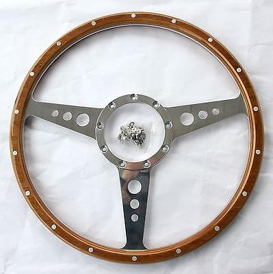 """BOSS /> 1970 MGC MGA. Vendita PROMOZIONALE classica di qualità 15/"""" woodrim ruota con Rivetti"""