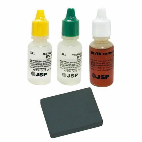 GOLD/SILVER Test Acid Tester Kit 10k 14k .999 .925 Sterling Testing Stone Detect