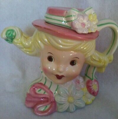1950s Hats: Pillbox, Fascinator, Wedding, Sun Hats Sweetie Pie Teapot Girl With Pink Hat And Pigtails 1950's Replica ~ Mint  $19.95 AT vintagedancer.com