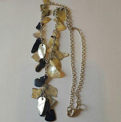 A lovely silver tone necklace with abalone shell pieces. , usado comprar usado  Enviando para Brazil