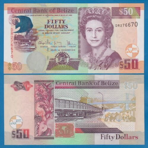 Belize 50 Dollars P 70f  2016 UNC Low Shipping! Combine FREE! ( P 70 f )