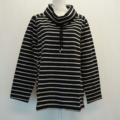 Karen Scott Women Top Long Sleeve Funnel Neck Gray Striped Sweat Shirt Black $44 Long Sleeve Striped Sweatshirt