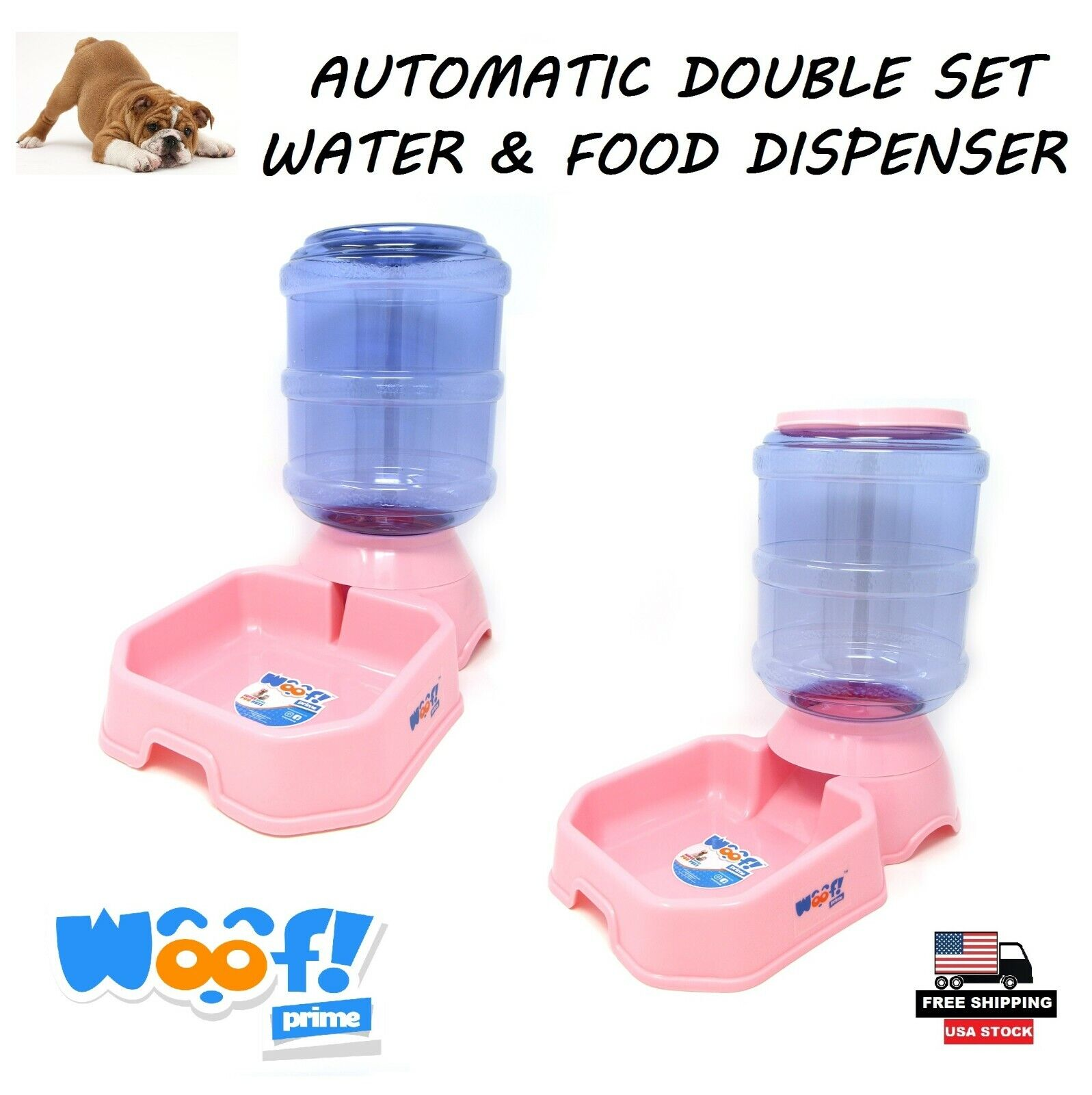 Double Bowls For Pets Automatic Water & Food Dispenser Pink Dog Cat Woof! Prime