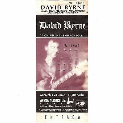 DAVID BYRNE Concert Ticket Stub VALENCIA SPAIN 6/24/92 THE TALKING HEADS Rare
