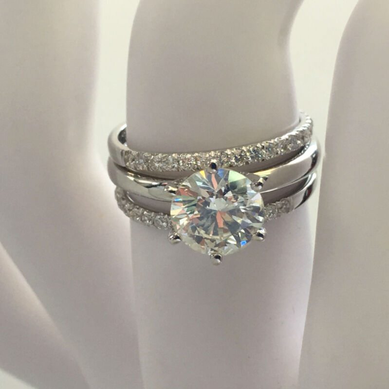 Celebration 2.25 Ct G Si2 Round Diamond Matching Bands 14 Karat White Gold Ring