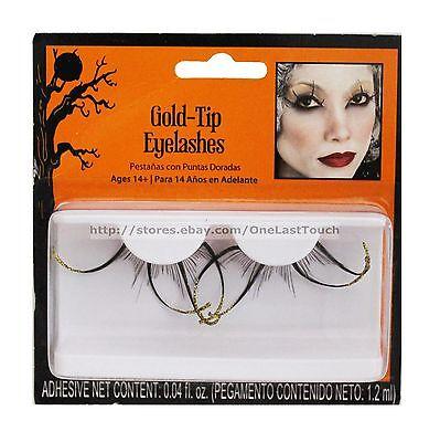 HALLOWEEN* 1 Pair Eyelashes #14475 GOLD-TIP+BLACK False Eye Lashes NEW! - Black Eye Halloween Makeup Tips