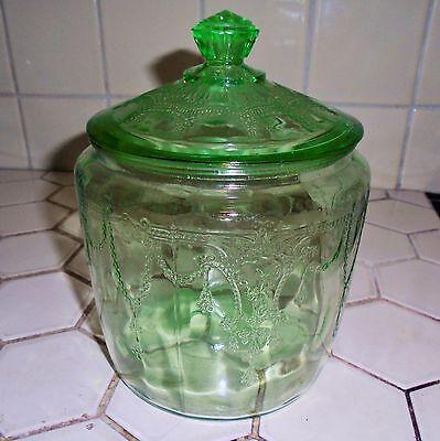 VINTAGE 1930s HOCKING DEPRESSION GLASS CAMEO DANCING GIRL BALLERINA COOKIE JAR