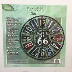 Route 66 License Plate Design Vintage Rustic Art Deco Style Metal Wall Clock 22