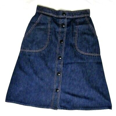 Vintage 1970's Snap Front Denim Skirt A-Line Perfect  for Summer St.Michael 12