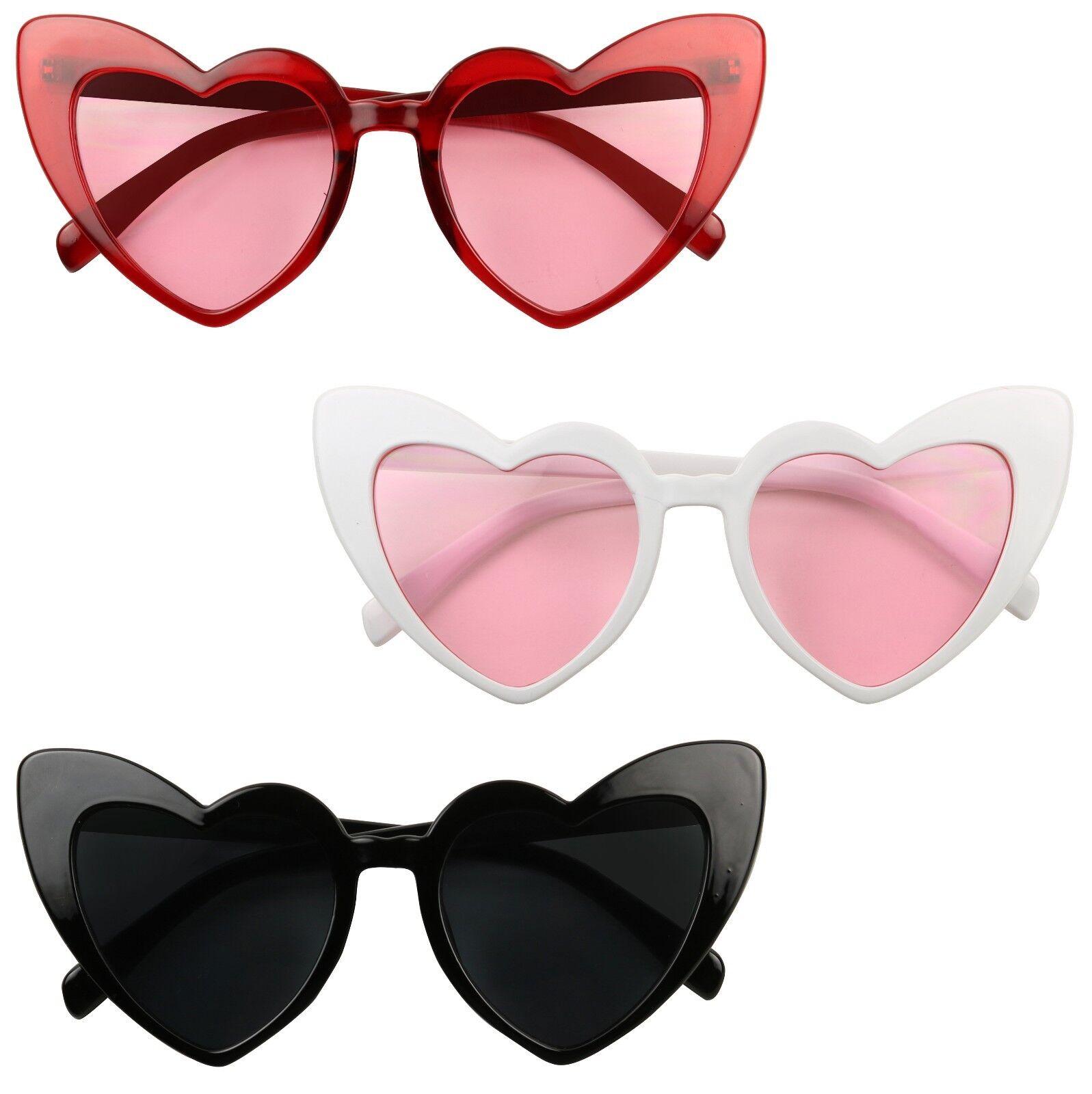 ShadyVEU Love Heart Shaped Chunky Bold Oversized Tinted Color Sunglasses