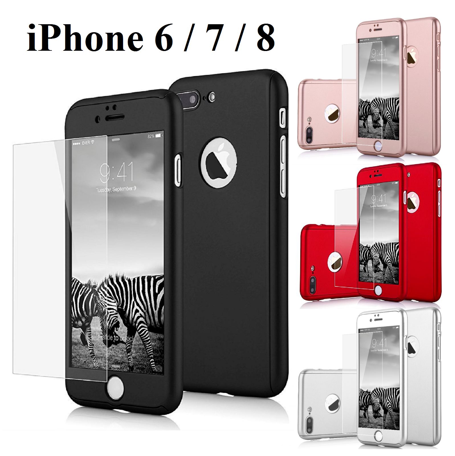 360° Shockproof Full Tempered Glass Case Cover For iPhone X XS Max XR 8 6 7 Plus