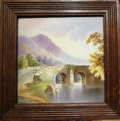 Victorian Hand Painted Tile - The Mountain Bridge