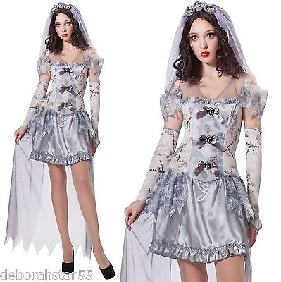 Ladies Ghost Bride Halloween Graveyard Ghoul Corpse Fancy Dress Costume - 123 Halloween Costumes