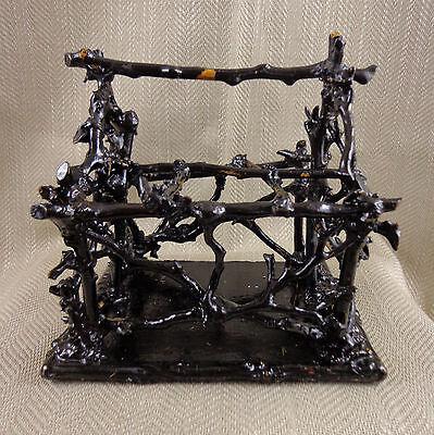 Antique Wooden Bottle Rack Victorian Aesthetic Twig Basket Holder Black Forrest