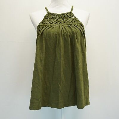 Cable & Gauge Womens Top Crochet Yoke Keyhole Back Halter Top Shirt Green $60