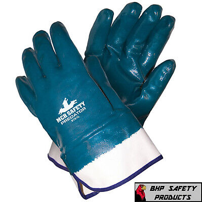 12 Pair Mcr Safety Memphis 9761 Predator Fully Coated Nitrile Work Gloves Large
