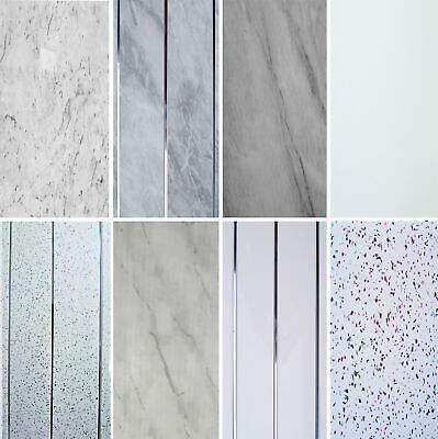 Bathroom Panels Grey White Marble Shower Wall Cladding Sparkle PVC Ceiling