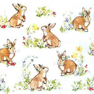 4 Lunch Paper Napkins for Decoupage Party Table Craft Vintage  Rabbits Family