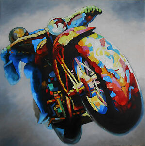 120cm Vintage motorbike Rider Racer Bike Oil Painting Quality Large