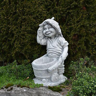 """Massive Steinfigur Gnom /""""Faulpelz/"""" Troll Wichtel Kobold aus Steinguss frostfest"""