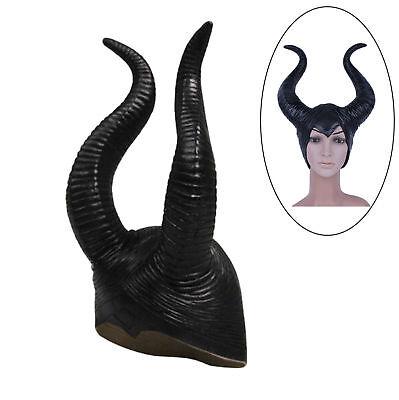 New Evil Queen Maleficent Black Horns Headpiece Headband Fancy Dress Costume Hat