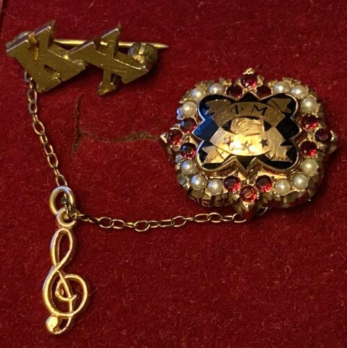 ΦM - Phi Mu Sorority 10k Yellow Gold, 12 Rubies & 12 Pearls Member Pin