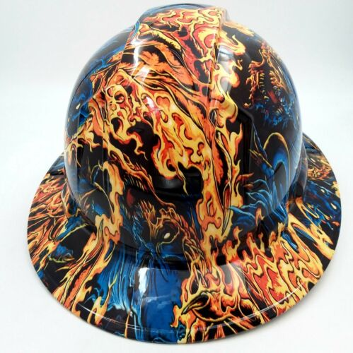 Hard Hat FULL BRIM custom hydro dipped , OSHA approved ICE SKULL BATTLE ROYAL 3