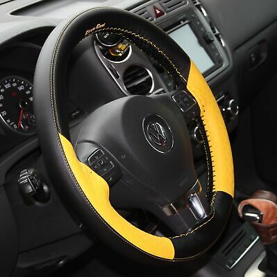 DIY Style PVC Steering Wheel Skin Wrap Cover Yellow & Black Best Fit &