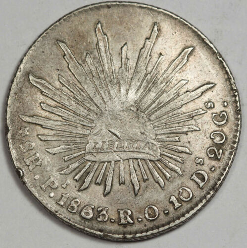 MEXICO Potosi 1863/2 Pi RO 8 Reales Silver Coin XF Cap and Rays Scarce Overdate