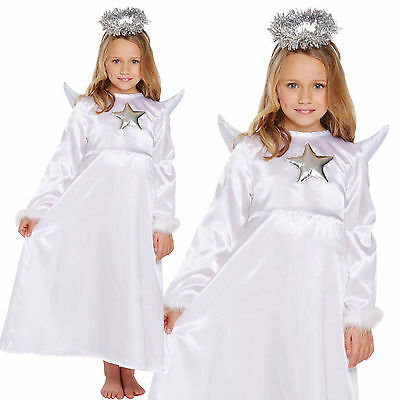 Girls Christmas Angel Fancy Dress Costume With Dress Wings & Halo Age 4-12 years