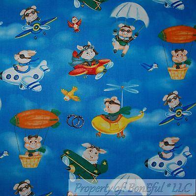 BonEful FABRIC FQ Cotton Quilt Blue Cloud Sky Pig Air*plane Bird Hot Air Balloon