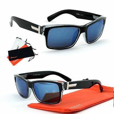Retro Nerd Sonnenbrille Rechteckig Schwarz Blau Transparent 50er Jahre Viper TR4 ()