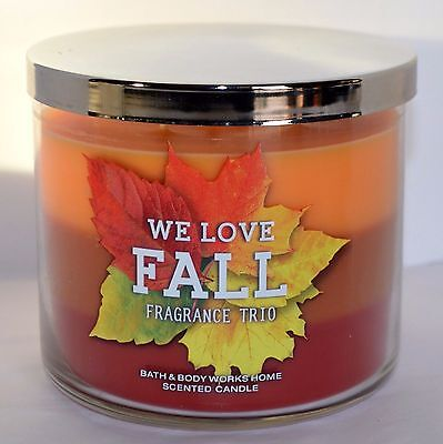 Three Wick Glass - 2 We Love Fall Bath And Body Works Candle 3 Wick Glass Jar Trio Three Scented
