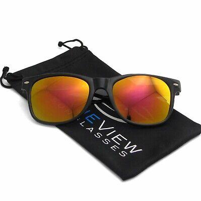 Orange Lens Sunglasses (Wayfare Sunglasses Retro Black Frame Orange Reflective Lens Classic Men Women)