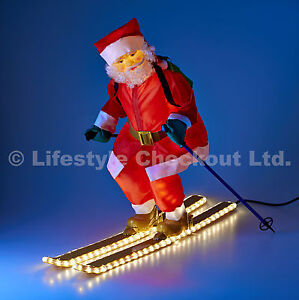 75cm Santa On Skis Rope Light Up Outdoor Christmas Home